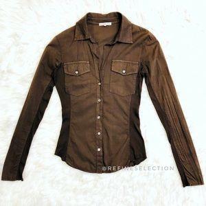 James Perse Sheer Slub Brown Button Down Shirt
